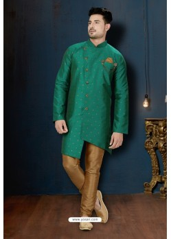 Teal And Beige Booti Silk Designer Sherwani
