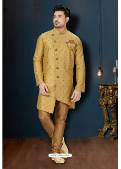 Light Beige And Beige Booti Silk Designer Sherwani