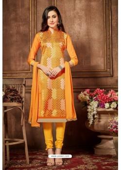 Mustard Glazz Cotton Churidar Suit