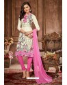 Off White And Pink Glazz Cotton Churidar Suit
