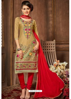 Gold And Red Glazz Cotton Churidar Suit