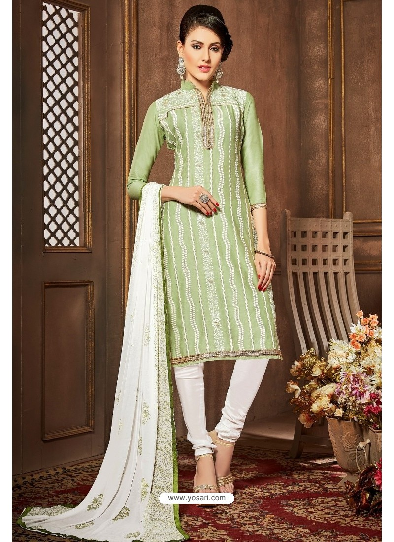 Sea Green And White Glazz Cotton Churidar Suit