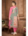 Mehendi And Pink Glazz Cotton Churidar Suit