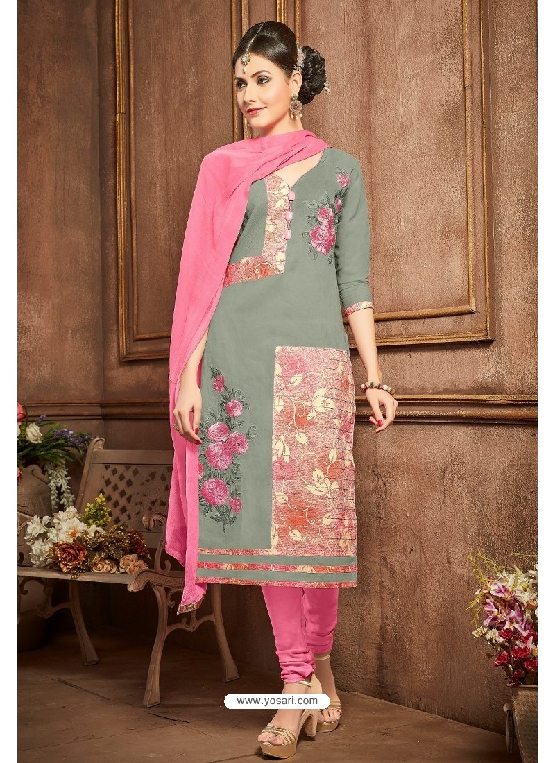 Mehendi And Pink Glazz Cotton Churidar Suit