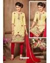 Lemon And Red Glazz Cotton Churidar Suit