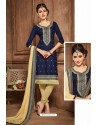 Navy And Cream Glazz Cotton Churidar Suit