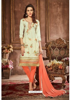 Sea Green And Orange Glazz Cotton Churidar Suit