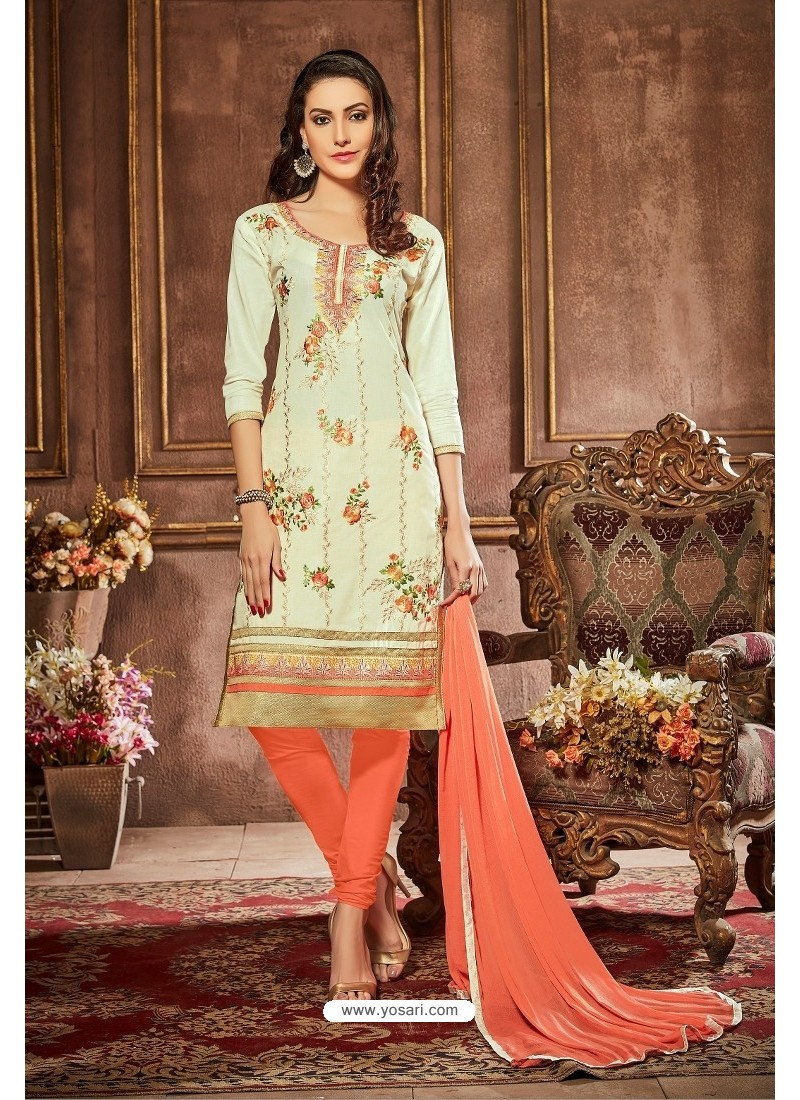 Sea Green And Orange Glazz Cotton Churidar Suit