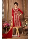 Red And Gold Glazz Cotton Churidar Suit