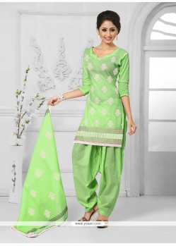 Lovable Embroidered Work Green Cotton Designer Patiala Salwar Kameez