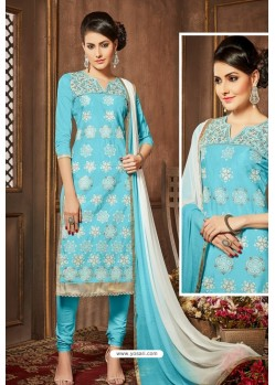 Sky Blue Glazz Cotton Churidar Suit