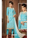 Sky Blue Glazz Cotton Churidar Suit