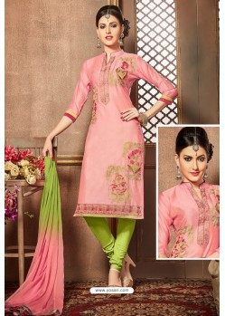 Pink And Green Glazz Cotton Churidar Suit