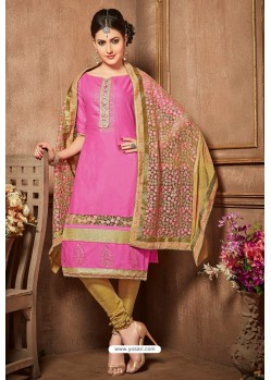 Hot Pink And Gold Glazz Cotton Churidar Suit