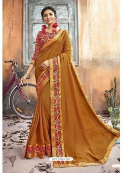 Mustard Chanderi Silk Printed Saree