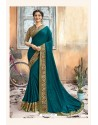 Teal Blue Chanderi Silk Printed Saree