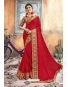 Red Chanderi Silk Printed Saree