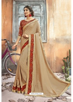 Light Beige Chanderi Silk Printed Saree