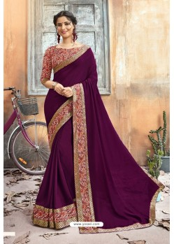 Purple Chanderi Silk Printed Saree