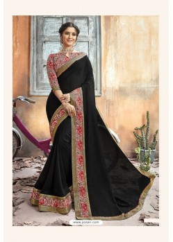 Black Chanderi Silk Printed Saree