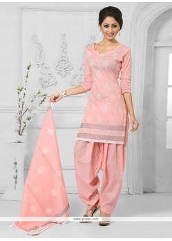 Refreshing Cotton Peach Designer Patila Salwar Suit