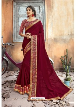 Maroon Chanderi Silk Printed Saree