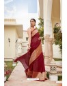 Maroon Cotton Jacquard Worked Designer Saree