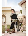 Black Cotton Jacquard Worked Designer Saree