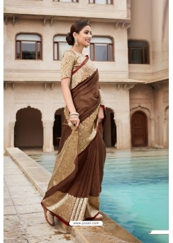 Brown Cotton Jacquard Worked Designer Saree