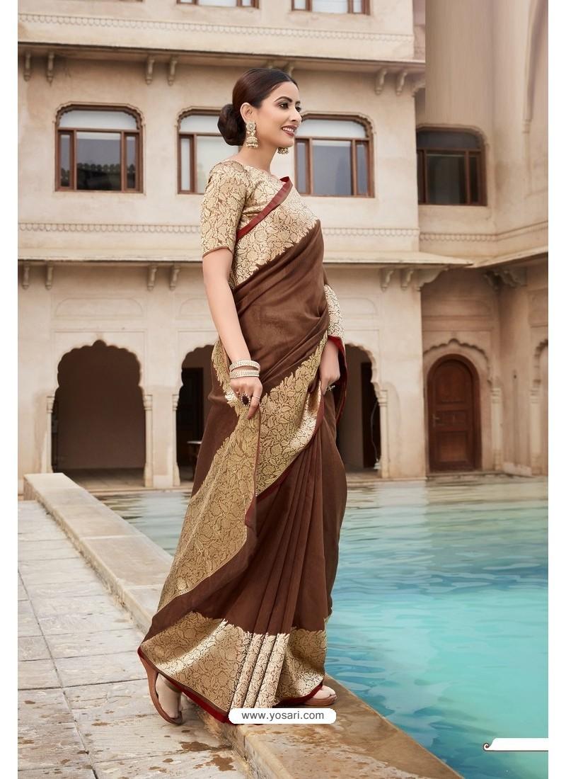 Brown Cotton Jacquard Worked Designer Saree