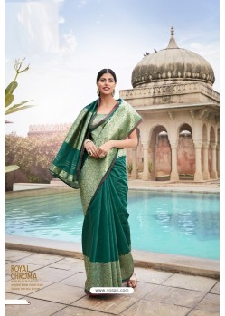 Teal Cotton Jacquard Worked Designer Saree