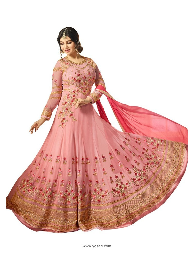 Pink Faux Georgette Zari Embroidered Anarkali Suit
