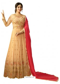 Beige Faux Georgette Zari Embroidered Anarkali Suit