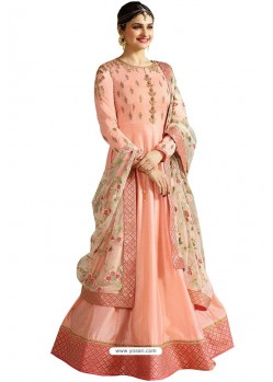 Baby Pink Faux Georgette Zari Embroidered Anarkali Suit