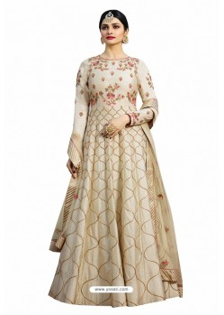 Light Beige Chennai Silk Zari Embroidered Anarkali Suit