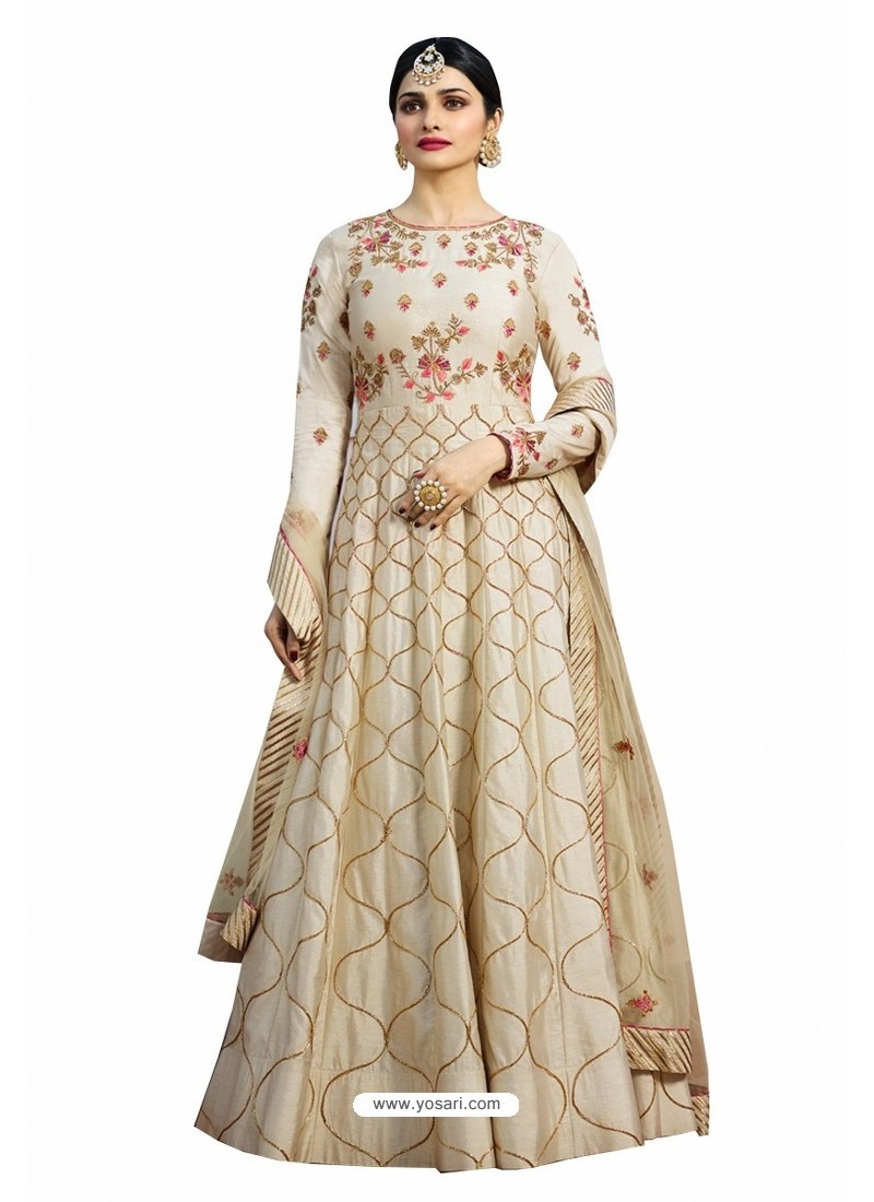 Light Beige Chennai Silk Zari Embroidered Anarkali Suit