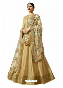 Pretty Beige Faux Georgette Zari Embroidered Anarkali Suit