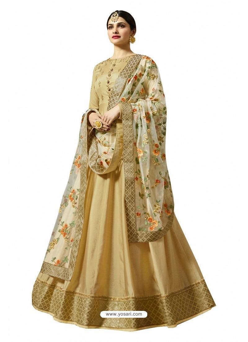 Pretty Beige Faux Georgette Zari Embroidered Anarkali Suit