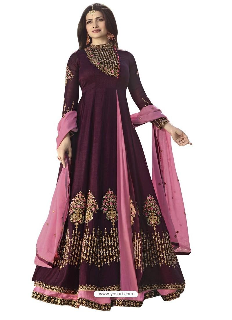 Purple Viscose Satin Zari Embroidered Anarkali Suit