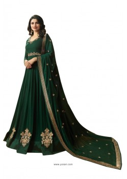 Dark Green Faux Georgette Zari Embroidered Anarkali Suit