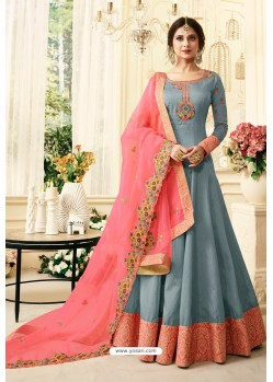 Grey Silk Zari Embroidered Anarkali Suit