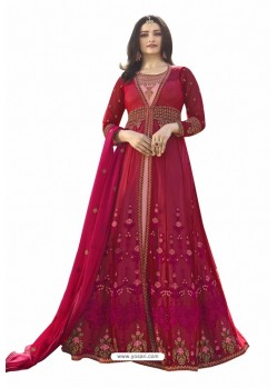 Medium Violet Nylon Net Zari Embroidered Anarkali Suit
