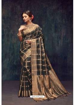 Black Silk Printed Saree