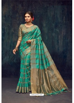 Aqua Mint Silk Printed Saree