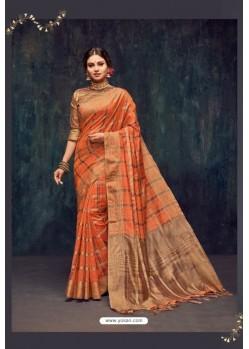 Orange Silk Printed Saree