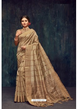 Beige Silk Printed Saree