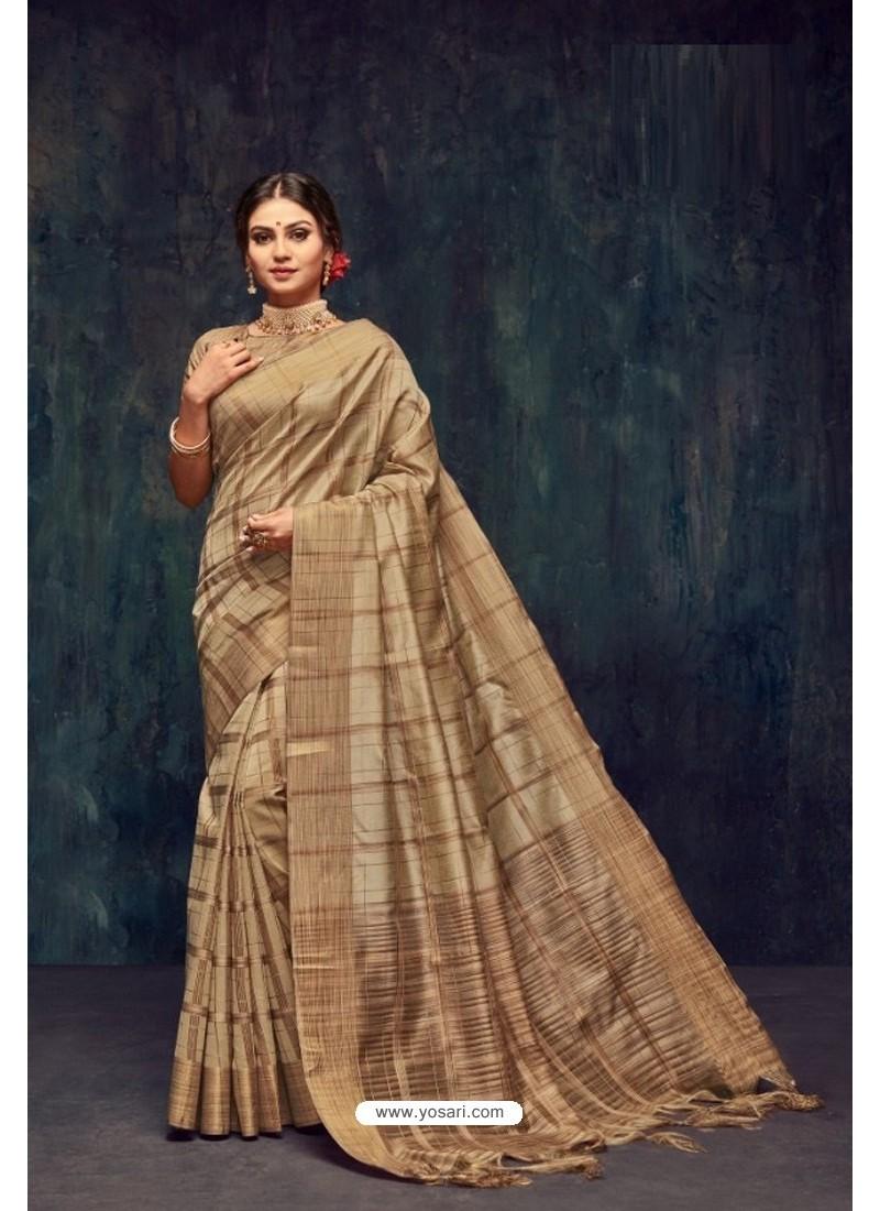 Beige Silk Printed Saree