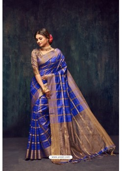 Royal Blue Silk Printed Saree