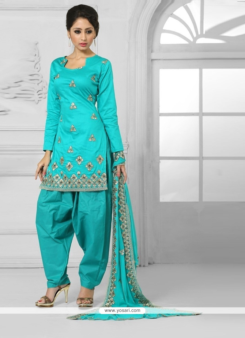 Miraculous Turquoise Designer Patila Salwar Suit