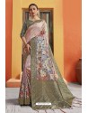 Dusty Pink Silk Printed Designer Saree
